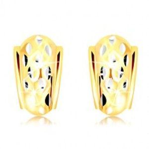 Šperky eshop - Náušnice v 14K zlate - atypický oblúk so zrniečkami z bieleho zlata GG218.53
