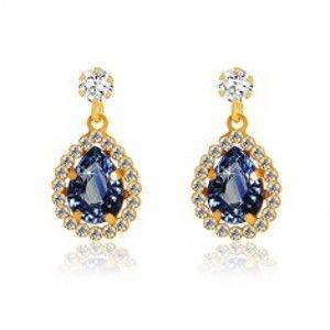 Šperky eshop - Náušnice v 9K žltom zlate - číry zirkón, slza tmavomodrej farby, ligotavý lem GG52.33