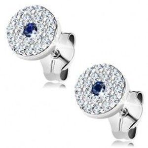 Šperky eshop - Náušnice v bielom 14K zlate - kruh zdobený čírymi zirkónikmi, modrý zafír v strede GG150.07