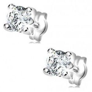 Šperky eshop - Náušnice v bielom 14K zlate - okrúhly zirkón čírej farby v hranatom kotlíku GG35.13