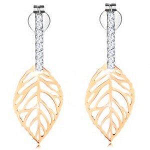 Šperky eshop - Náušnice v kombinovanom 14K zlate - pás čírych zirkónikov, vyrezávaný list GG150.15