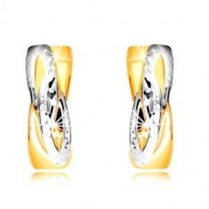 Šperky eshop - Náušnice v kombinovanom zlate 585 - krúžky so šikmým prepleteným vzorom GG218.49