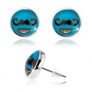 Šperky eshop - Náušnice v štýle cabochon, sklo, modré pozadie, čierne fúzy, zubatý úsmev SP80.30