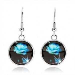 Šperky eshop - Náušnice v štýle kabošon, kruh s glazúrou, modrá rozkvitnutá ruža SP69.13