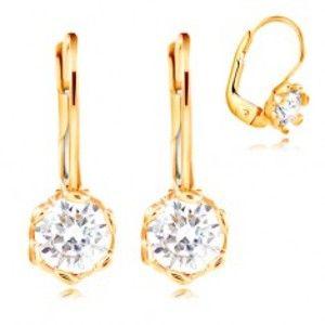 Šperky eshop - Náušnice v žltom 14K zlate - číry zirkón s dekoratívnymi kolíkmi, 4,5 mm GG209.34