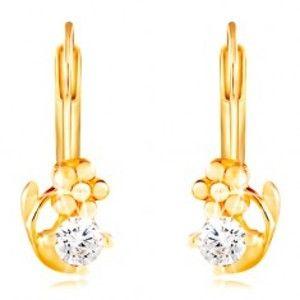 Šperky eshop - Náušnice v žltom 14K zlate - lesklý kvietok a okrúhly číry zirkón GG210.05