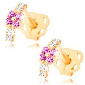 Šperky eshop - Náušnice v žltom 14K zlate - malý oblúčik zdobený čírymi a ružovými zirkónmi GG106.22