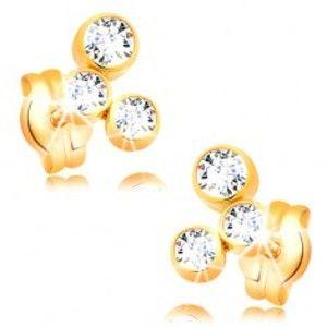 Šperky eshop - Náušnice v žltom 14K zlate - oblúk z troch ligotavých zirkónov GG16.14