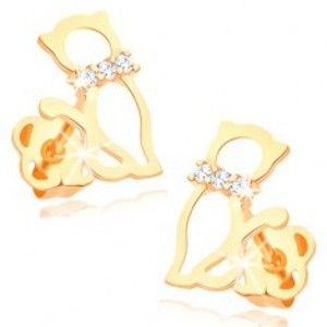 Šperky eshop - Náušnice v žltom 14K zlate - obrys mačky s diamantovým obojkom BT502.02