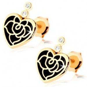 Šperky eshop - Náušnice v žltom 14K zlate - pravidelné srdce s čiernou glazúrou, ruža, zirkóny GG87.25