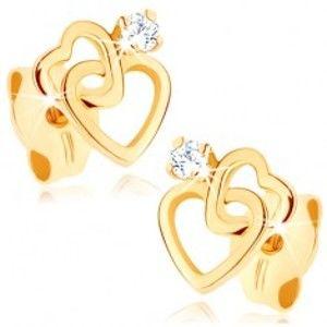 Šperky eshop - Náušnice v žltom 14K zlate - prepojené srdcové kontúry, diamant čírej farby BT501.14