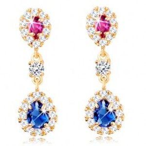 Šperky eshop - Náušnice v žltom 14K zlate - ružová a modrá zirkónová kvapka s čírym lemom GG107.28