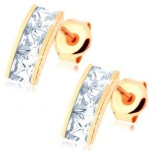 Šperky eshop - Náušnice v žltom 14K zlate - širší pásik vykladaný štvorcovými zirkónmi čírej farby GG85.26