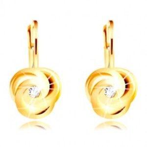 Šperky eshop - Náušnice v žltom 14K zlate - tri špirálovito zatočené lupienky, okrúhly zirkónik GG219.33
