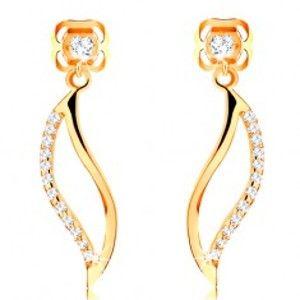 Šperky eshop - Náušnice v žltom 14K zlate - zvlnený obrys zrnka zdobený čírymi zirkónmi GG105.24