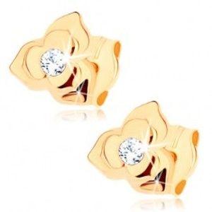Šperky eshop - Náušnice v žltom 9K zlate - kvietok so zdvojenými lupeňmi, číry zirkón GG72.09