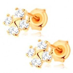 Šperky eshop - Náušnice v žltom 9K zlate - štyri okrúhle zirkóny, malá pyramída v strede GG66.23