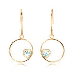 Šperky eshop - Náušnice v žltom 9K zlate - tenká obruč so svetlomodrým srdcom z topásu GG55.11