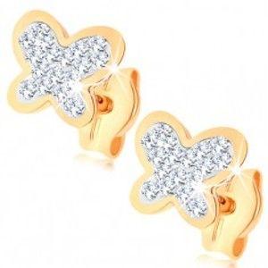 Šperky eshop - Náušnice v žltom 9K zlate - trblietavý motýlik, číre krištále Swarovski GG77.09
