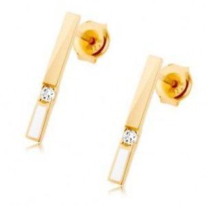 Šperky eshop - Náušnice v žltom 9K zlate, zvislý pásik zdobený bielou glazúrou a zirkónom GG68.28