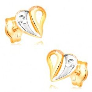 Šperky eshop - Náušnice v žltom a bielom 14K zlate - dvojfarebné srdce s výrezmi a zirkónom GG33.16