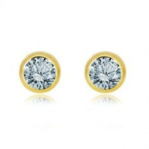Šperky eshop - Náušnice v žltom zlate 375 - lesklá okrúhla objímka, prírodný svetlomodrý topás GG39.13