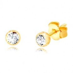 Šperky eshop - Náušnice v žltom zlate 375 - trblietavý transparentný zirkón v lesklej objímke, 3 mm GG55.31