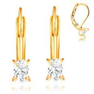Šperky eshop - Náušnice v žltom zlate 585 - štyri zahnuté kolíky, oválny číry zirkón, 5 mm GG209.24