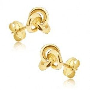 Šperky eshop - Náušnice v žltom zlate 585 - tri navzájom prepojené obruče, puzetky GG37.37