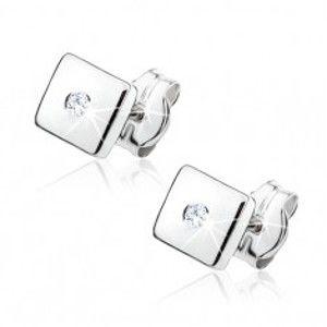 Šperky eshop - Náušnice z bieleho 9K zlata - lesklé štvorčeky, zirkóny čírej farby GG49.04