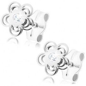 Šperky eshop - Náušnice z bieleho 9K zlata - lesklý kvietok, zdvojené obrysy lupeňov, zirkón GG84.05