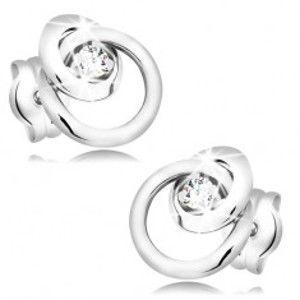 Šperky eshop - Náušnice z bieleho zlata 585 - trblietavý číry briliant, veľká a malá obruč BT501.62