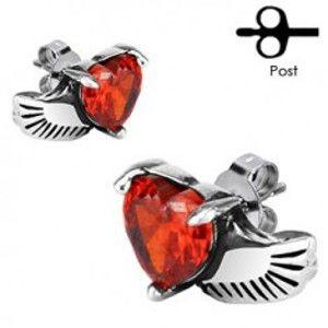 Šperky eshop - Náušnice z chirurgickej ocele - anjelské krídlo, červené srdce Z26.17