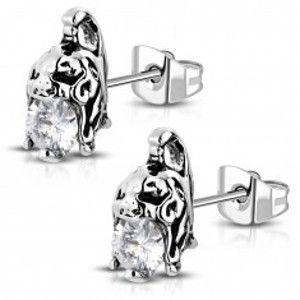 Šperky eshop - Náušnice z chirurgickej ocele - helma bojovníka s čírym zirkónom, patina AA15.05