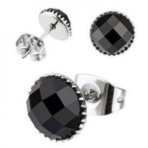 Šperky eshop - Náušnice z chirurgickej ocele - ónyxové oko W17.09/W17.15 - Priemer: 4 mm