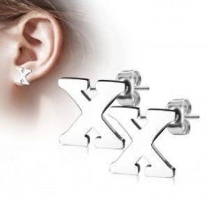 Šperky eshop - Náušnice z chirurgickej ocele - veľké tlačené písmenko X, strieborná farba AB13.10