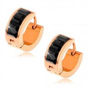 Šperky eshop - Náušnice z chirurgickej ocele, medená farba, čierne brúsené obdĺžniky S86.07