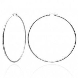 Šperky eshop - Náušnice z chirurgickej ocele, obruče, strieborná farba, lesklý povrch U28.12