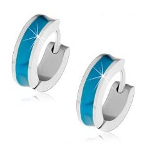 Šperky eshop - Náušnice z chirurgickej ocele s vyhĺbeným modrým stredovým pásom Z44.18