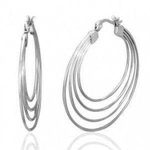8b0bee73a Šperky eshop - Náušnice z chirurgickej ocele, strieborná farba, štyri kruhy  U29.12