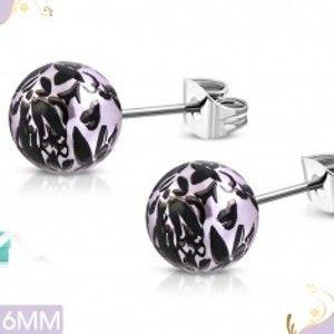 Šperky eshop - Náušnice z chirurgickej ocele, svetlofialové akrylové guličky s čiernymi kvetmi AA18.25
