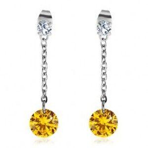 5ce0f0cff Šperky eshop - Náušnice z chirurgickej ocele, veľký žltý a menší číry zirkón,  retiazka