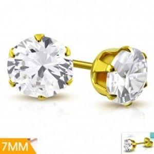 Šperky eshop - Náušnice z chirurgickej ocele zlatej farby, číry zirkón v kotlíku, 7 mm AA20.03