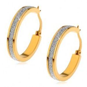 Šperky eshop - Náušnice z chirurgickej ocele zlatej farby s trblietavým pieskovaným pruhom X03.10