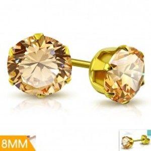 Šperky eshop - Náušnice z chirurgickej ocele zlatej farby, svetlooranžový zirkón v kotlíku, 8 mm AA07.12