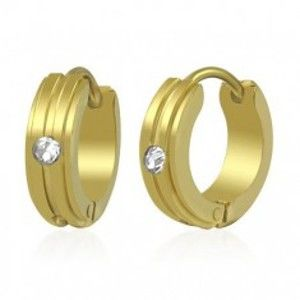 Šperky eshop - Náušnice z chirurgickej ocele zlatej farby, vystupujúce pásiky, číry zirkón SP42.11