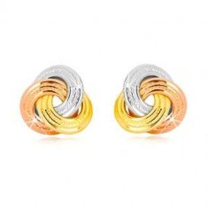Šperky eshop - Náušnice z kombinovaného 14K zlata - trojfarebný uzol, širšie vrúbkované prstence GG42.12
