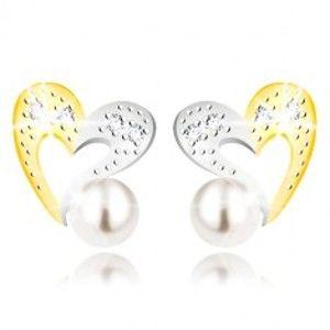 Šperky eshop - Náušnice z kombinovaného zlata 375 - dvojfarebná kontúra srdca, zirkóny a biela perla GG55.24