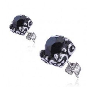 Šperky eshop - Náušnice z ocele - čierny kamienok, objímka, puzetky AA16.10