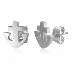 Šperky eshop - Náušnice z ocele 316L - kotva a kríž, strieborná farba, puzetky X13.06